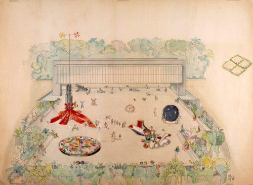Lina Bo Bardi Estudo preliminar – esculturas praticáveis do belvedere Museu de Arte Trianon, 1968